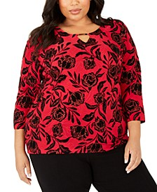 Plus Size Velvet Glitter Jacquard Top, Created for Macy's