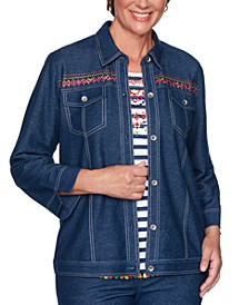 Petite Road Trip Embroidered Embellished Jacket