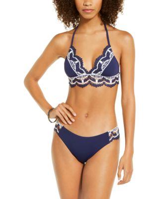 Delilah Solid Crochet Trim Halter Bikini Top