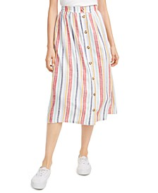 Juniors' Striped Midi Skirt