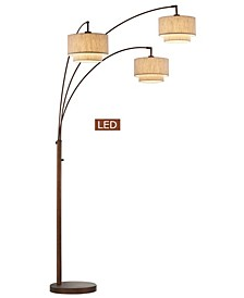 "Lumiere III 80"" LED Arched Floor Lamp Double Layer Shade with Dimmer"