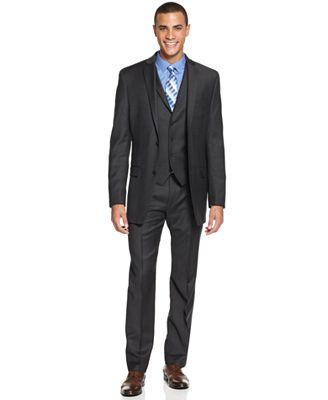 Alfani Charcoal Plaid Slim-Fit Suit Separates - Suits & Suit ...