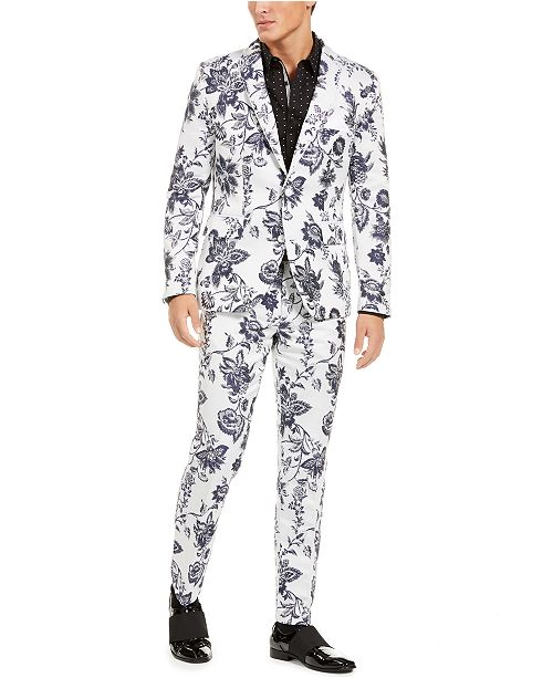 INC International Concepts INC Men's Slim-Fit Floral Jacquard Suit Seperates, Created For Macy's