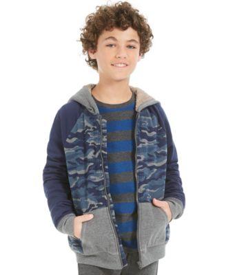 Big Boys Camo-Print Fleece-Lined Full-Zip Hoodie, Created For Macy's
