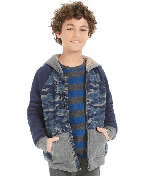Epic Threads Big Boys Camo-Print Fleece-Lined Full-Zip Hoodie, Created For Macy's