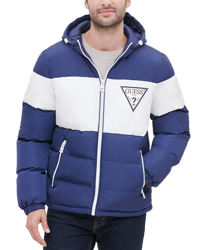 GUESS - Men's Colorblock Hooded Puffer Jacket