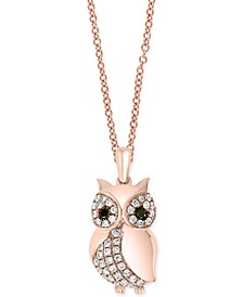 "EFFY® Diamond Owl 18"" Pendant Necklace (1/4 ct. t.w.) in 14k Rose Gold"