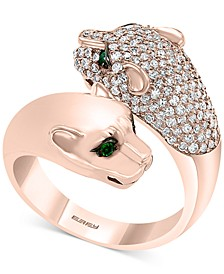 EFFY® Diamond (7/8 ct. t.w.) & Emerald (1/10 ct. t.w.) Big Cat Bypass Statement Ring in 14k Rose Gold