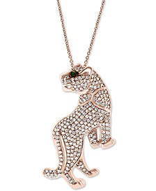 "EFFY® Diamond (7/8 ct. t.w.) & Emerald Accent Big Cat 18"" Pendant Necklace in 14k Rose Gold"