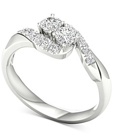 Diamond Curve Statement Ring (1/2 ct. t.w.) in 14k White Gold