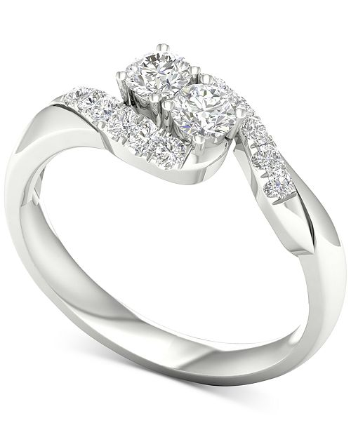 Macy's Diamond Curve Statement Ring (1/2 ct. t.w.) in 14k White Gold