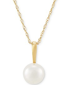 "Cultured Freshwater Pearl (6mm) 18"" Pendant Necklace in 14k Gold"
