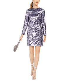 Sequined Snake-Embossed Shift Dress