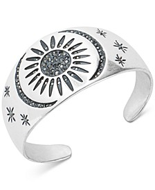 Silver-Tone Hematite Crystal Sun & Moon Cuff Bracelet