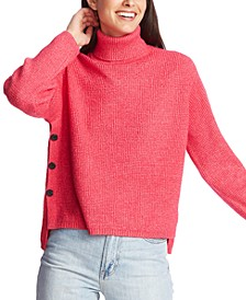 Waffle-Knit Button-Detail Turtleneck Sweater