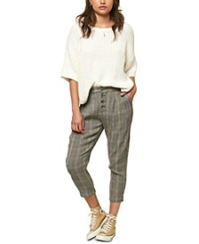 Juniors' Woodson Cropped Plaid Pants