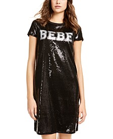 Sequined Varsity Logo T-Shirt Dress