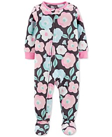 Baby Girls Floral Fleece Footed Pajamas