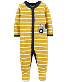 Baby Boys Cotton Striped Truck Footed Coverall