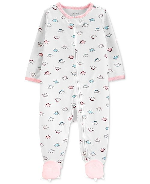 Carter's Baby Girls Cotton Dinosaur Footed Coverall