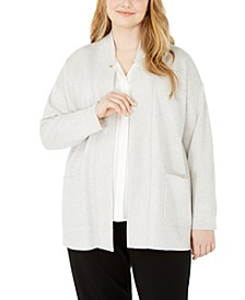 Plus Size Notched-Collar Cardigan