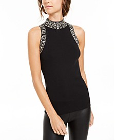 INC Embellished Mock-Neck Tank Sweater, Created For Macy's