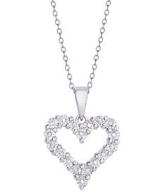 Diamond 1/10 ct. t.w. Heart Miracle Plate Pendant Necklace in Sterling Silver