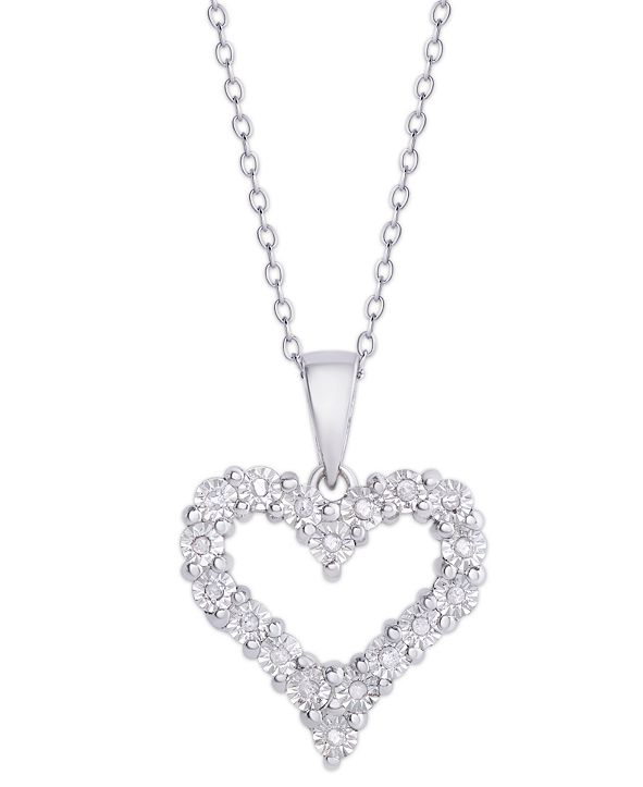 Macy's Diamond 1/10 ct. t.w. Heart Miracle Plate Pendant Necklace in Sterling Silver