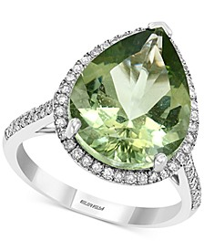 EFFY® Green Quartz (7-1/20 ct. t.w.) & Diamond (1/3 ct. t.w.) Pear Statement Ring in 14k White Gold