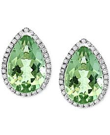 EFFY® Green Amethyst (5-7/8 ct. t.w.) & Diamond (1/3 ct. t.w.) Stud Earrings in 14k White Gold