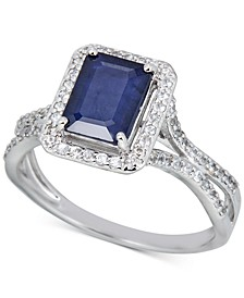 Emerald (1-1/2 ct. t.w.) & White Sapphire (1/3 ct. t.w.) Ring in 14k Rose Gold (Also in Sapphire & Ruby)