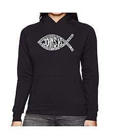 Women's Word Art Hooded Sweatshirt -John 3:16 Fish Symbol