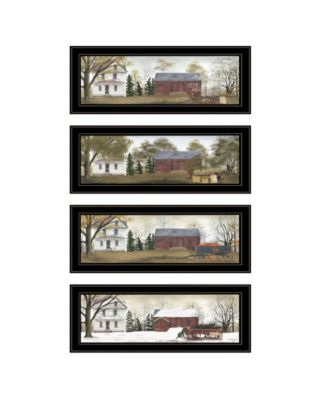 """Season's Collection 4-Piece Vignette by Billy Jacobs, Black Frame, 21"""" x 9"""""""