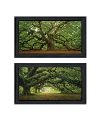 "Tree Arbors 2-Piece Vignette by Moises Levy, Black Frame, 39"" x 21"""