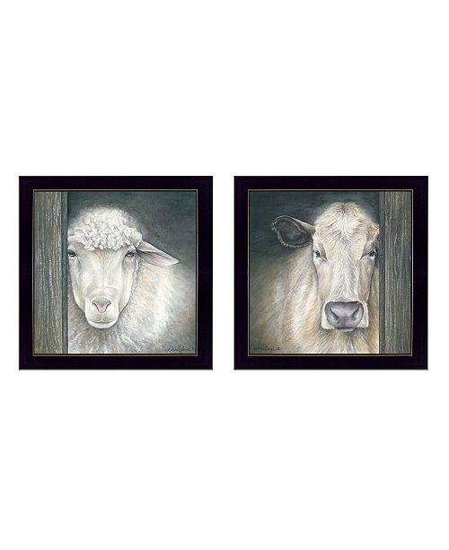 "Trendy Decor 4U Trendy Decor 4U Barnyard Animal Portraits 2-Piece Vignette by Diane Weaver, Black Frame, 14"" x 14"""