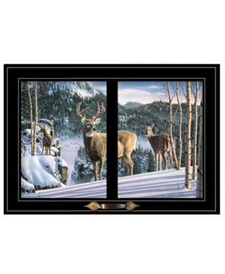 """Morning View Deer by Kim Norlien, Ready to hang Framed Print, Black Window-Style Frame, 21"""" x 15"""""""