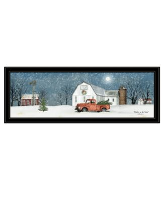 """Winter on The Farm by Billy Jacobs, Ready to hang Framed Print, Black Frame, 39"""" x 15"""""""