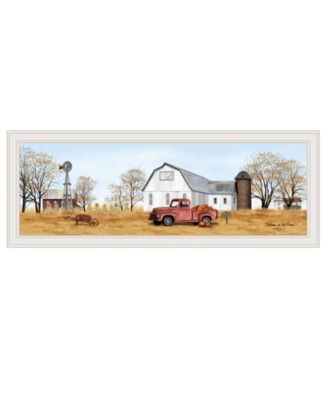 """Autumn on Farm by Billy Jacobs, Ready to hang Framed Print, White Frame, 39"""" x 15"""""""