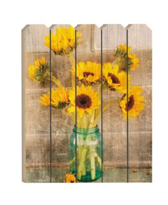 """Country Sunflowers by Anthony Smith, Printed Wall Art on a Large Wood Picket Fence, 16"""" x 20"""""""