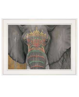 "Tattooed Elephant by Britt Hallowell, Ready to hang Framed Print, White Frame, 19"" x 15"""