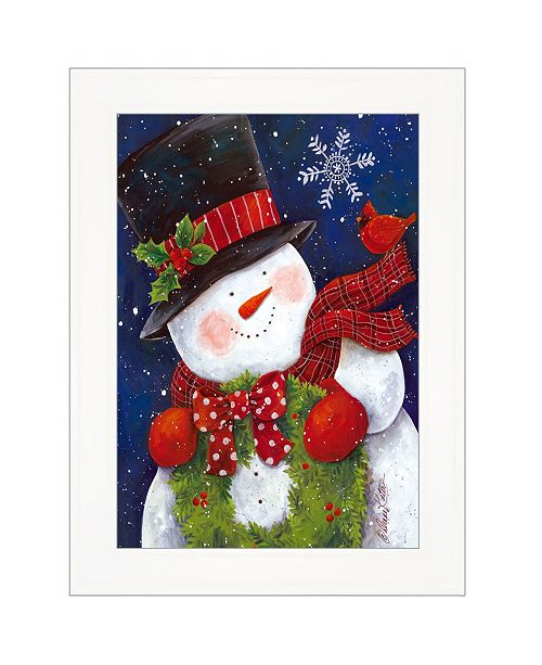"""Trendy Decor 4U Trendy Decor 4U Cheery Snowman by Diane Kater, Ready to hang Framed Print, White Frame with Iron Easel, 11"""" x 16"""""""