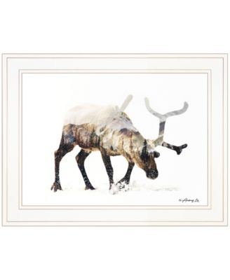 """Arctic Reindeer by andreas Lie, Ready to hang Framed Print, White Frame, 19"""" x 15"""""""