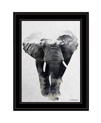 Elephant Walk by andreas Lie, Ready to hang Framed Print, Black Frame, 15