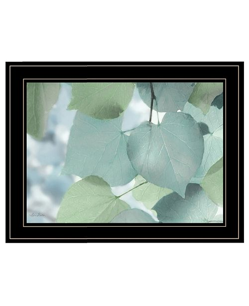 "Trendy Decor 4U Trendy Decor 4U Aqua Leaves by Lori Deiter, Ready to hang Framed Print, Black Frame, 21"" x 15"""