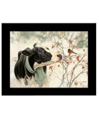 """The Winter Robin by Bonnie Mohr, Ready to hang Framed Print, Black Frame, 19"""" x 15"""""""