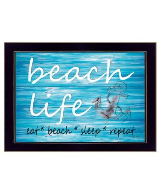 "Beach Life By Cindy Jacobs, Printed Wall Art, Ready to hang, Black Frame, 14"" x 10"""