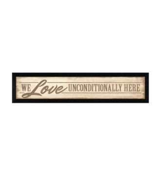 """Love Unconditionally By Lauren Rader, Printed Wall Art, Ready to hang, Black Frame, 38"""" x 8"""""""