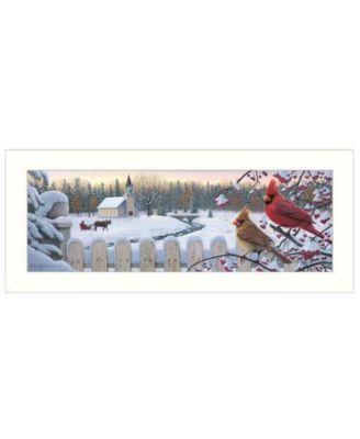 """White Crimson Morning by Kim Norlien, Ready to hang Framed Print, White Frame, 38"""" x 14"""""""