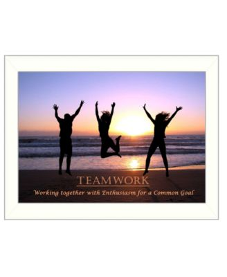 "Teamwork By Trendy Decor4U, Printed Wall Art, Ready to hang, White Frame, 14"" x 10"""