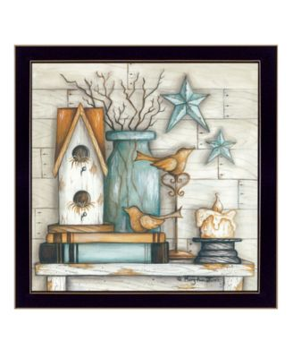 """Birdhouse on Books By Mary June, Printed Wall Art, Ready to hang, Black Frame, 14"""" x 14"""""""